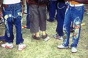 Two guys with customised jeans, Urban Games, Clapham, UK,  2000's
