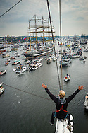 Amsterdam, Netherlands, August 19, 2015.  The view from the mast of Tallship Thalassa, a Dutch Barqentine form Harlingen. Kruzenshtern or Krusenstern (Russian: Барк Крузенштерн) is a four-masted barque and tall ship that was built in 1926. Hundreds of ships join the Tallships on their way from Ijmuiden to their destination Amsterdam, for the Sail Amsterdam 2015. Photo by Frits Meyst / Meystphoto.com