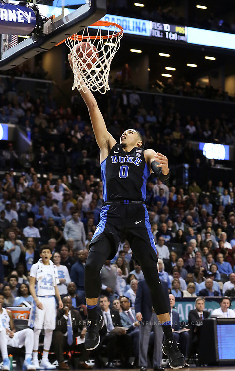 Duke forward Jayson Tatum (0) lays in the ball during the semifinals of the 2017 New York Life ACC Tournament at the Barclays Center in Brooklyn, N.Y., Friday, March 10, 2017. (Photo by David Welker, theACC.com)