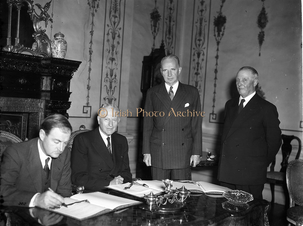 Danish Consulate General Ireland Mr H Osterberg signing transportation tax agreement 18-10-1954 Liam Cosgrave minister for external affairs