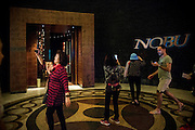 DUBAI, UAE - DECEMBER 18, 2015: The main entrance of Nobu Dubai restaurant, Atlantis, The Palm Jumeirah. It is the first endeavor of the acclaimed Chef Nobu in the Middle East region.