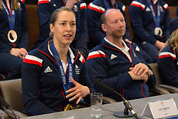 © Licensed to London News Pictures. 25/02/2014. London, UK. Womens skeleton gold medalist, Lizzy Yarnold talks to the press at the Sofitel Hotel at Heathrow Airport on 24th February 2014. Photo credit : Vickie Flores/LNP