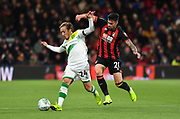 Bournemouth's Diego Rico and Norwich City midfielder Felix Passlack (24), on loan from Borussia Dortmund  during the EFL Cup 4th round match between Bournemouth and Norwich City at the Vitality Stadium, Bournemouth, England on 30 October 2018.