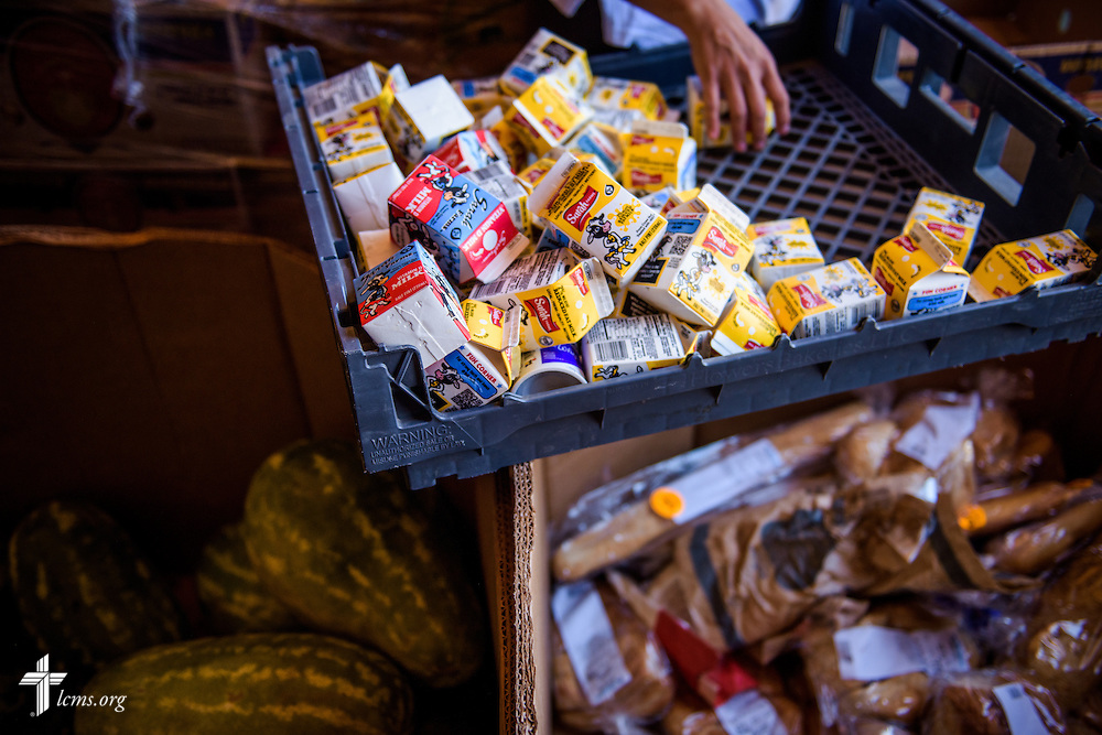 Food is gathered for distribution on Saturday, May 21, 2016, at  Ysleta Lutheran Mission Human Care in El Paso, Texas. LCMS Communications/Erik M. Lunsford