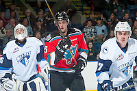 KELOWNA, CANADA - OCTOBER 14: Tomas Soustal #15 of Kelowna Rockets stands on the ice against the Saskatoon Blades on October 14, 2016 at Prospera Place in Kelowna, British Columbia, Canada.  (Photo by Marissa Baecker/Shoot the Breeze)  *** Local Caption *** Tomas Soustal;
