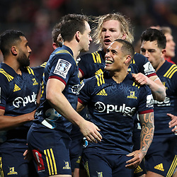 Ben Smith and Aaron Smith celebrate a try  during the Super Rugby match between the Crusaders and Highlanders at Wyatt Crockett Stadium in Christchurch, New Zealand on Friday, 06 July 2018. Photo: Martin Hunter / lintottphoto.co.nz