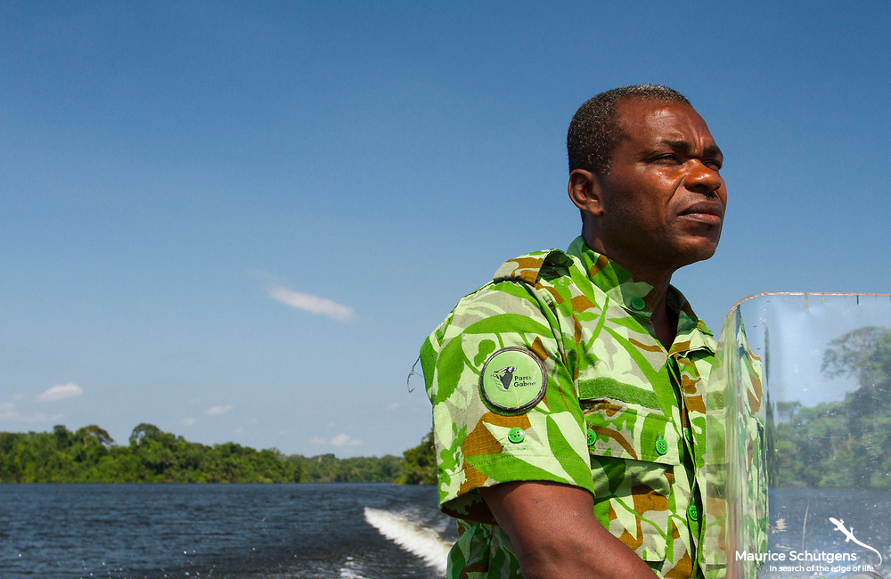A ranger from the Gabonese National Parks services in Loango National Park, Gabon.