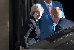 © Licensed to London News Pictures. 05/07/2016. London, UK. Home Secretary Theresa May smiles as she returns to Parliament after winning  tonight's first round of voting in the Conservative Party leadership race. Photo credit: Peter Macdiarmid/LNP