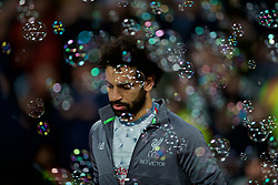 LONDON, ENGLAND - Monday, February 4, 2019: Liverpool's Mohamed Salah walks out into a cloud of bubbles before the FA Premier League match between West Ham United FC and Liverpool FC at the London Stadium. (Pic by David Rawcliffe/Propaganda)