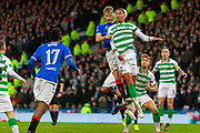 Filip Helander of Rangers FC wins the header during the Betfred Scottish League Cup Final match between Rangers and Celtic at Hampden Park, Glasgow, United Kingdom on 8 December 2019.