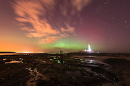 27.02.2014 Whitley Bay, Tyne and Wear. The Aurora borealis AKA The Northern Lights, dance over St. Mary's Lighthouse in Whitley Bay just outside Newcastle.