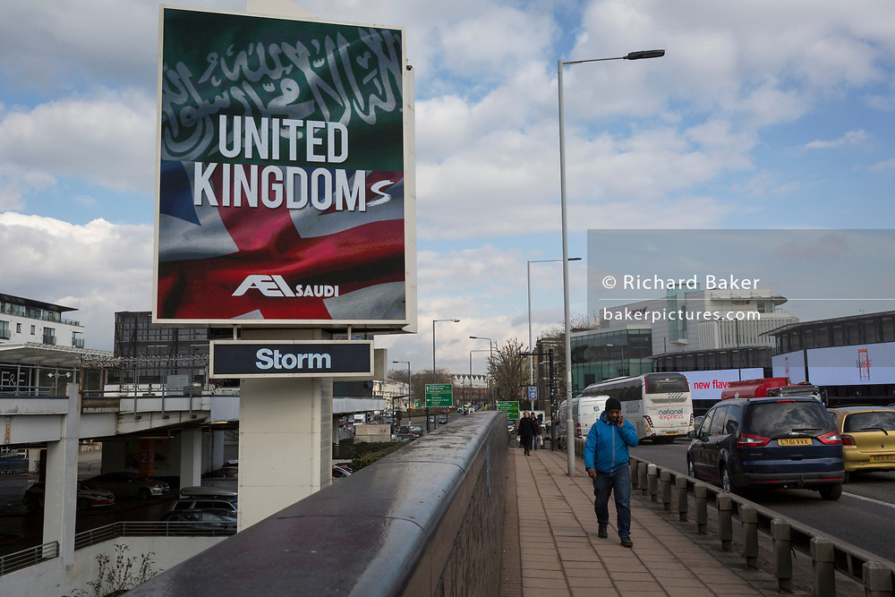 "On the first day of his official 3-day visit to London, the face of Saudi Crown Prince Mohammed bin Salman appears on a large billboard on West Cromwell Road, on 7th March 2018, in London England. Industry sources said the Saudis could be spending close to £1m on the city-wide campaign, which includes dozens of prime poster sites around London and newspaper ads. ""He is bringing change to Saudi Arabia,"" the ads say, with a large photo of Crown Prince Mohammed bin Salman and the hashtag #ANewSaudiArabia."
