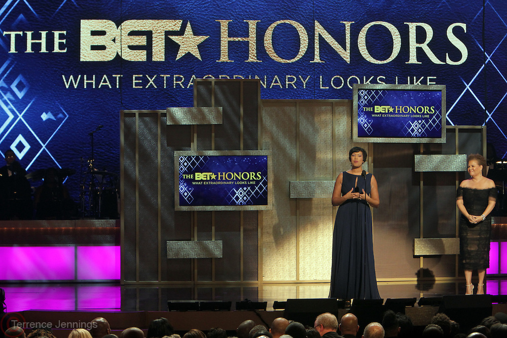 24-January- Washington, D.C: (L-R) D.C. Mayor Muriel Bowser and Debra L. Lee, CEO & President, BET Networks attend the 2014 BET Honors Inside held at the Warner Theater on January 24, 2015 in Washington, D.C.   (Terrence Jennings/terrencejennings.com)