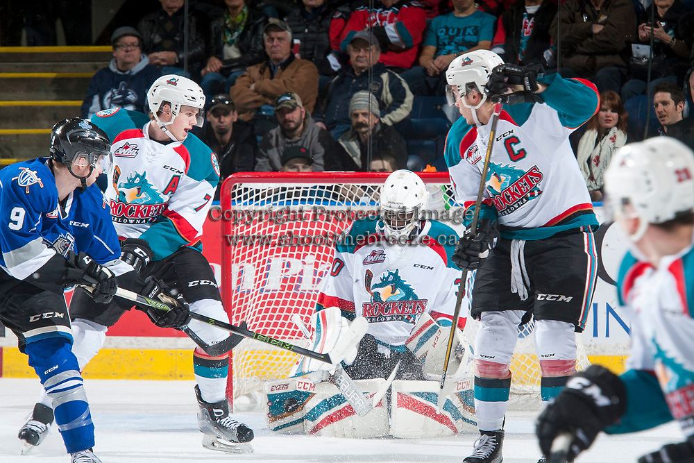 KELOWNA, CANADA - MARCH 7: Michael Herringer #30 of the Kelowna Rockets makes a first period save against the Victoria Royals on March 7, 2017 at Prospera Place in Kelowna, British Columbia, Canada.  (Photo by Marissa Baecker/Shoot the Breeze)  *** Local Caption ***