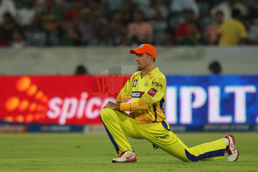 Michael Hussey sports the orange cap during match 54 of the Pepsi Indian Premier League between The Sunrisers Hyderabad and Chennai Superkings held at the Rajiv Gandhi International  Stadium, Hyderabad  on the 8th May 2013..Photo by Ron Gaunt-IPL-SPORTZPICS ..Use of this image is subject to the terms and conditions as outlined by the BCCI. These terms can be found by following this link:..http://www.sportzpics.co.za/image/I0000SoRagM2cIEc