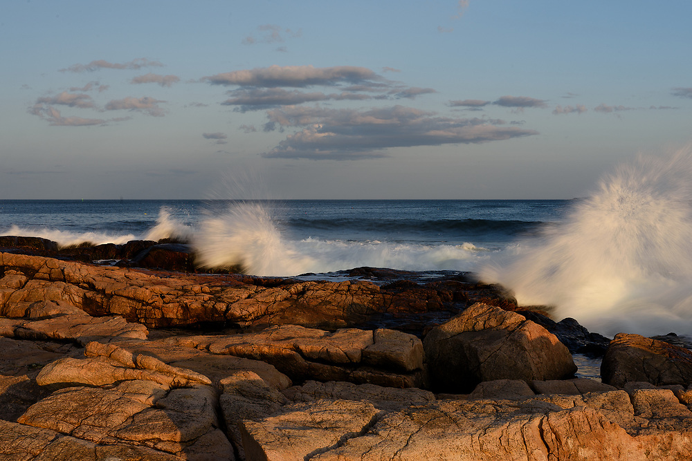 Waves crashing on rocks, Ship Harbor, Acadia National Park, Maine