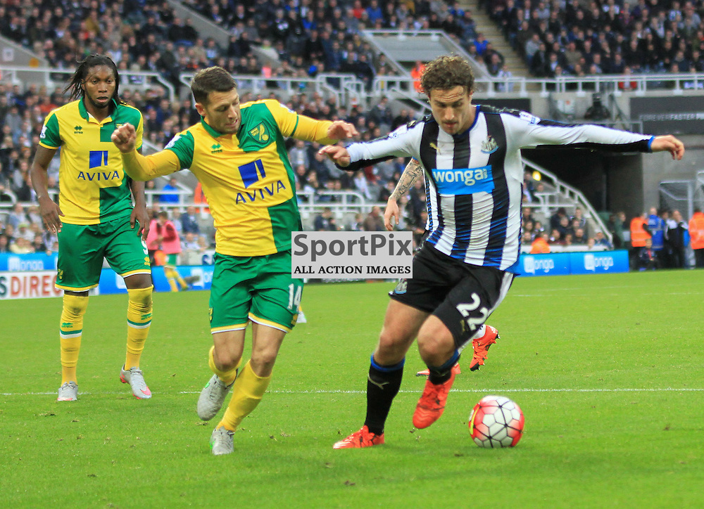Newcastle United V Norwich City Premier League 18th October 2015;  Daryl Janmaat (Newcastle, 22) and Wes Hoolahan (Norwich, 14) during the Newcastle V Norwich match, played at St. James Park, Newcastle.