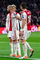 08-05-2019 NED: Semi Final Champions League AFC Ajax - Tottenham Hotspur, Amsterdam<br /> After a dramatic ending, Ajax has not been able to reach the final of the Champions League. In the final second Tottenham Hotspur scored 3-2 / Hakim Ziyech #22 of Ajax scores 2-0, Dusan Tadic #10 of Ajax, Kasper Dolberg #25 of Ajax