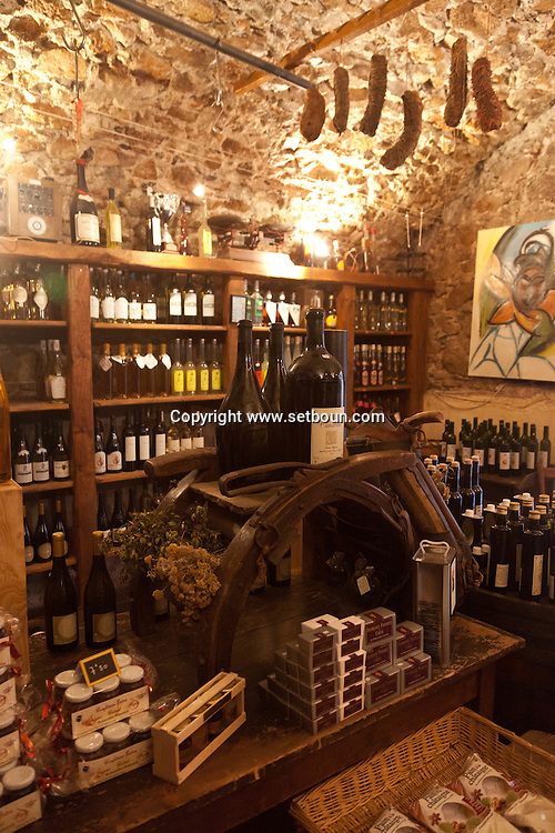 Corsica. France. Corsica north;  Calvi city, Aloghja delicatessen store
