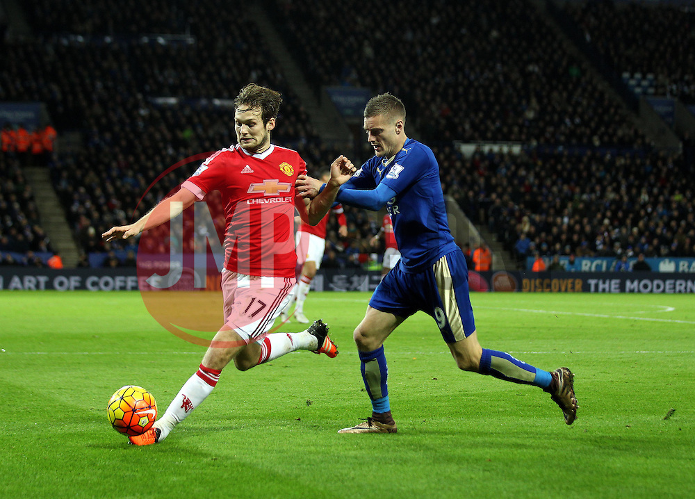 Daley Blind of Manchester United is put under pressure by Jamie Vardy of Leicester City - Mandatory byline: Robbie Stephenson/JMP - 28/11/2015 - Football - King Power Stadium - Leicester, England - Leicester City v Manchester United - Barclays Premier League