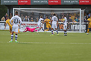 Sutton United's Ross Stearn shoots at goal scores a goal 1-1 during the The FA Cup 4th qualifying round match between Sutton United and Forest Green Rovers at Gander Green Lane, Sutton, United Kingdom on 15 October 2016. Photo by Shane Healey.