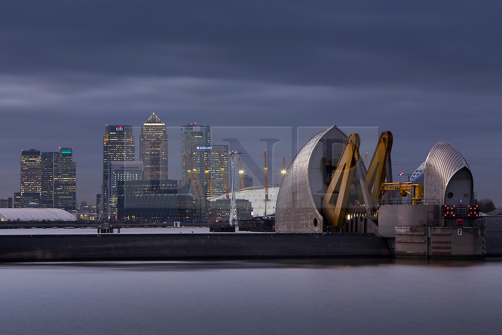 © Licensed to London News Pictures. 06/12/2013. London, UK A storm surge in the North Sea have caused London's Thames Barrier to be shut to protect the capital from high water levels today 6th December 2013. The closures today and last night are the first this year in response to a flood threat.. Photo credit : Terry Gibbins/LNP