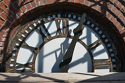 Tower Clock, Face & Hands. Fairfield County Courthouse GA 2 Renovations. Replace Roof and Masonry Repairs CT Dept of Public Works Project # BI-JD-305. Interim Progress Photography Shoot 4.5: 7 October 2011. Located on Golden Hill Streets in Bridgeport CT, this Richardsonian Romanesque style public building, was designed by Warren R. Briggs. Originally completed and opened in 1888 and has undergone several additions and expansions since.