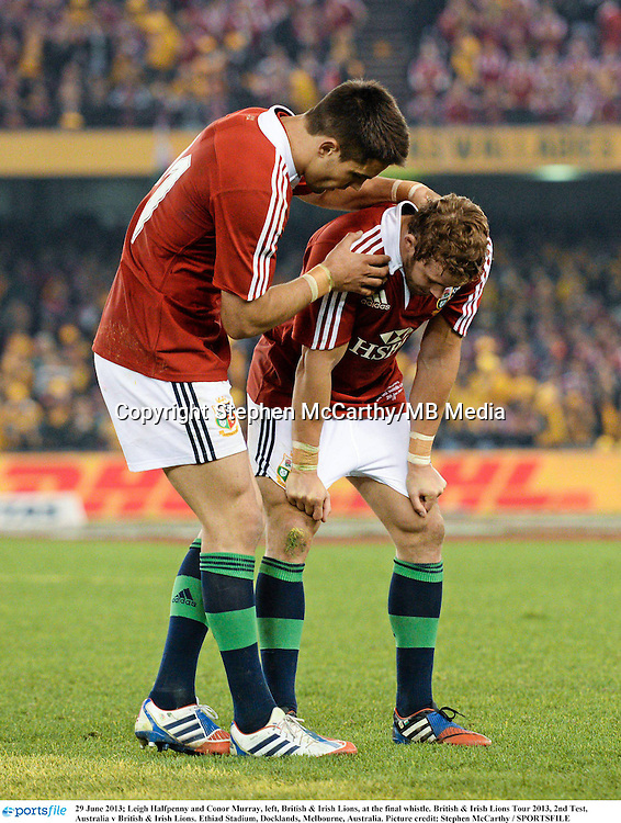 29 June 2013; Leigh Halfpenny and Conor Murray, left, British & Irish Lions, at the final whistle. British & Irish Lions Tour 2013, 2nd Test, Australia v British & Irish Lions. Ethiad Stadium, Docklands, Melbourne, Australia. Picture credit: Stephen McCarthy / SPORTSFILE