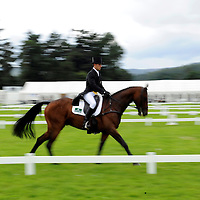 Blair Castle Horse Trials 2012 Photo Essay at Blair Castle, Blair Atholl, Perthshire. Wills Oakden from Newburgh in Fife, riding Prime Time II  works through his dressage test in the CCI 1 star.  Picture Christian Cooksey.