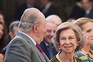 King Juan Carlos of Spain, Queen Sofia of Spain, Princess Elena de Borbon attend National Sport Awards 2017 at El Pardo Royal Palace on January 10, 2019 in Madrid, Spain