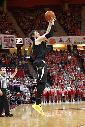 14 February 2015:   Evan Wessel puts up a shot from well outside the 3 point line during an NCAA MVC (Missouri Valley Conference) men's basketball game between the Wichita State Shockers and the Illinois State Redbirds at Redbird Arena in Normal Illinois