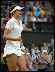 Wimbledon Tennis Championships.<br /> Laura Robson of Great Britain celebrates beating Mariana Duque Marino during the singles second round match with Colombian player on Centre Court on day 5 of The All England Lawn Tennis Club, Wimbledon, United Kingdom<br /> Friday, 28th June 2013<br /> Picture by Andrew Parsons / i-Images
