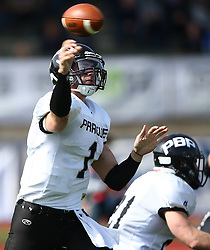 02.04.2016, Eggenberg Stadion, Graz, AUT, AFL, Projekt Spielberg Graz Giants vs Prague Black Panthers, im Bild Luke Zahradka (Prague Panthers, QB, #1) // during the Austrian Football League game between Projekt Spielberg Graz Giants vs Prague Black Panthers at the Eggenberg Stadium, Graz, Austria on 2016/04/02. EXPA Pictures © 2016, PhotoCredit: EXPA/ Thomas Haumer