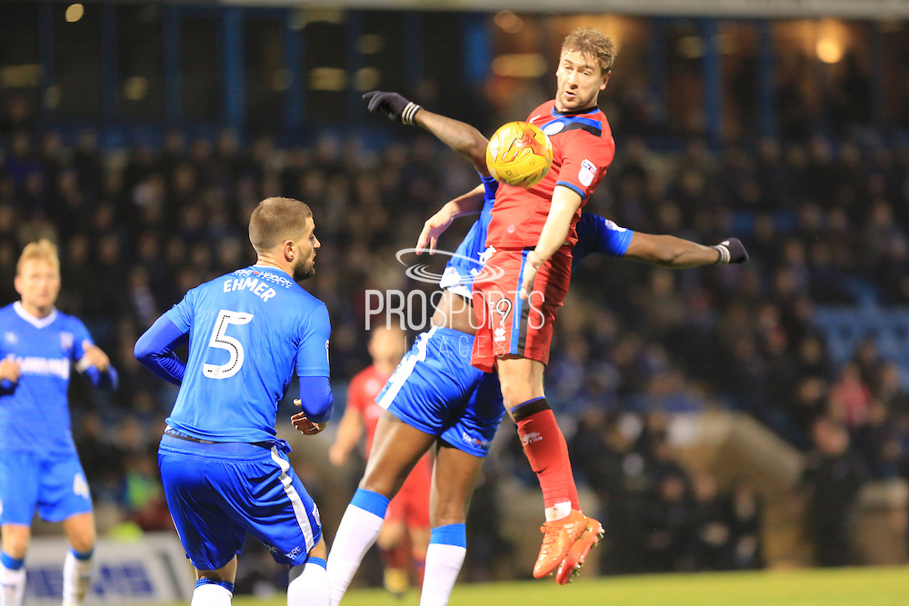 Steven Davies header  during the EFL Sky Bet League 1 match between Gillingham and Rochdale at the MEMS Priestfield Stadium, Gillingham, England on 26 November 2016. Photo by Daniel Youngs.