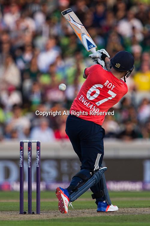 07.09.2016. Old Trafford, Manchester, England. Natwest International T20 Cricket. England Versus Pakistan. England middle order batsman Jason Roy pulls towards the boundary