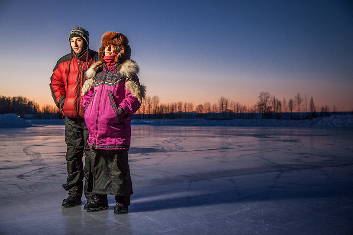 Television writer, Ari Katcher, and his mother, Kate Michaels, on winter solstice, Westchester Lagoon, Anchorage