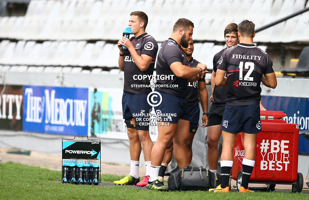 Jean Droste during The Cell C Sharks captain's run at Growthpoint Kings Park in Durban, South Africa. 3rd August 2017(Photo by Steve Haag)<br /> <br /> images for social media must have consent from Steve Haag