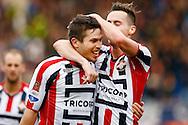 20-12-2015 VOETBAL:WILLEM II-RODA JC:TILBURG<br /> Dries Wuytens  van Willem II viert zijn doelpunt met Freek Heerkens van Willem II <br /> <br /> Foto: Geert van Erven