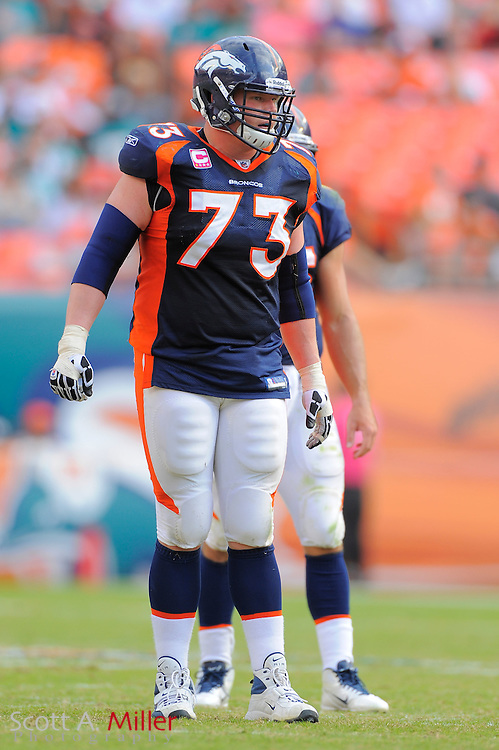 Denver Broncos guard Chris Kuper (73) during the Broncos 18-15 overtime win against the Miami Dolphins at Sun Life Stadium on Oct. 22, 2011 in Miami Gardens, Fla.  ...©2011 Scott A. Miller