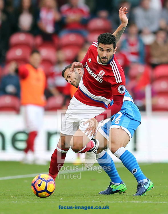 Antonio Barragan (l) of Middlesbrough and Jack Wilshere of Bournemouth during the Premier League match at the Riverside Stadium, Middlesbrough<br /> Picture by Simon Moore/Focus Images Ltd 07807 671782<br /> 29/10/2016