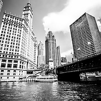 Downtown Chicago buildings black and white photo includes  Wrigley Building, Tribune Tower, The Equitable Building, Michigan Avenue Bridge (DuSable Bridge) and the Chicago River. Photo is high resolution.