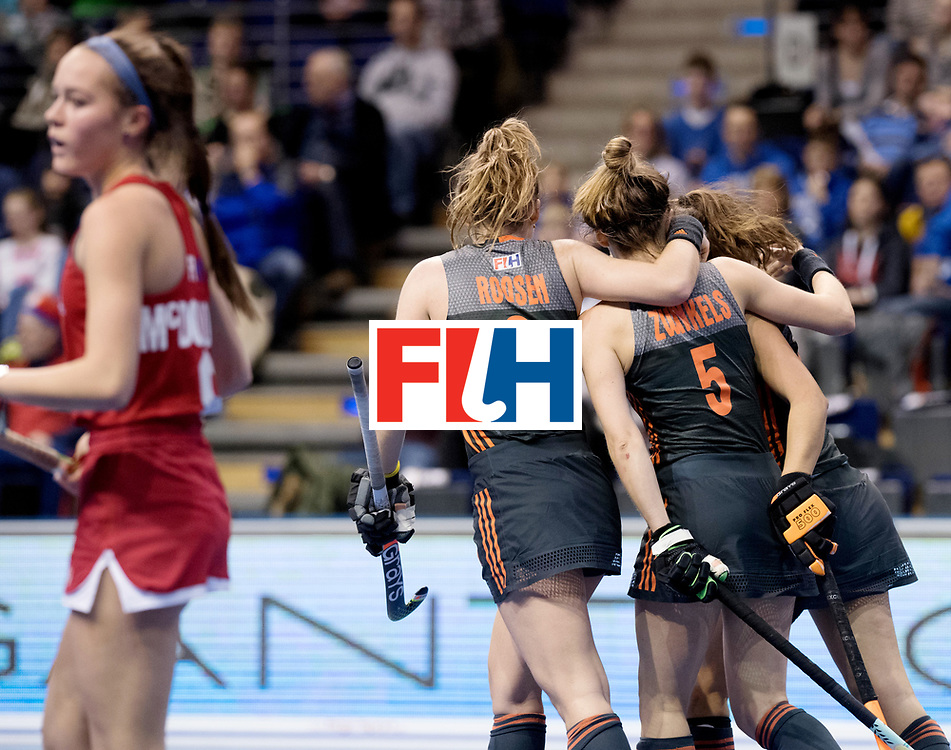 BERLIN - Indoor Hockey World Cup<br /> Women: Netherlands - United States<br /> foto: The Netherlands celebrate.<br /> WORLDSPORTPICS COPYRIGHT FRANK UIJLENBROEK
