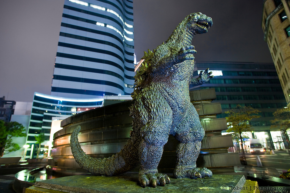 Godzilla statue of the pop culture icon, and monster at Hibiya Chanter Square in Tokyo, Japan.