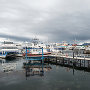 Tourist boats at the dock at Ushuaia Port in southern Argentina.