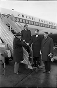 11/01/1963<br /> 01/11/1963<br /> 11 January 1963<br /> Donnelly (Dublin) Ltd. Managers depart for American Tour from Dublin Airport. Managers of Donnelly Ltd departed on a tour of the United States and Canada to inspect meat processing factories to observe first hand the methods of production and merchandising of pig products as practiced in America.  Picture shows Mr Stephen O'Mara (left), Managing Director, Donnelly Ltd., seeing off the three men (l-r) Mr R.E. Thomas, Marketing Manager; Mr J.J. Fleming, Product Manager and Mr J.V. Cunningham, General Manager as they prepare to board the plane.