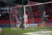 Frustation for Doncaster Rovers Midfielder Matty Blair (17) as misses a chance on goal during the EFL Sky Bet League 1 match between Doncaster Rovers and Bristol Rovers at the Keepmoat Stadium, Doncaster, England on 27 January 2018. Photo by Craig Zadoroznyj.