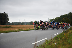 Dani Rowe (GBR), Christa Riffel (GER) and Floortje Mackaij (NED) lead the peloton at Ladies Tour of Norway 2018 Stage 2, a 127.7 km road race from Fredrikstad to Sarpsborg, Norway on August 18, 2018. Photo by Sean Robinson/velofocus.com