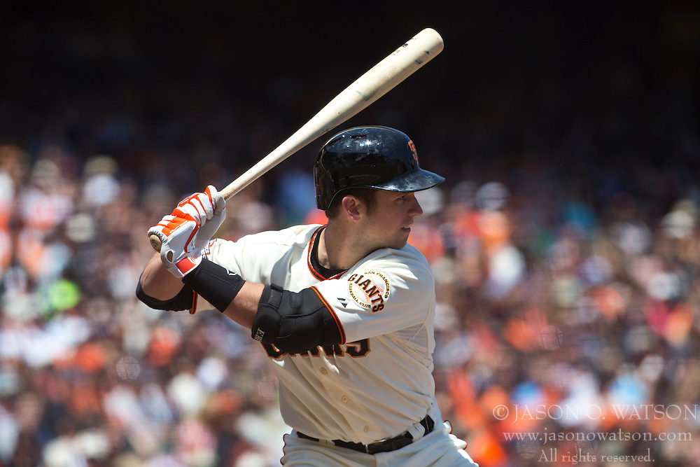SAN FRANCISCO, CA - MAY 11: Buster Posey #28 of the San Francisco Giants at bat against the Atlanta Braves during the fourth inning at AT&T Park on May 11, 2013 in San Francisco, California. The San Francisco Giants defeated the Atlanta Braves 10-1. (Photo by Jason O. Watson/Getty Images) *** Local Caption *** Buster Posey