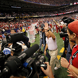 Jan 9, 2012; New Orleans, LA, USA; Alabama Crimson Tide head coach Nick Saban walks off the field after defeating the LSU Tigers 21-0 in the 2012 BCS National Championship game at the Mercedes-Benz Superdome.  Mandatory Credit: Derick E. Hingle-US PRESSWIRE