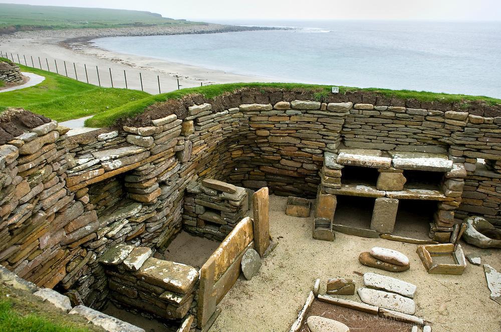 Skara Brae, a 5000 year old Neolithic village on Mainland, Orkney Islands Scotland